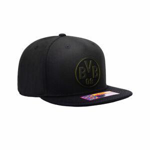 BVB Dortmund Premium Black Flat Peak Snapback Elite Baseball Hat Official