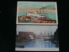 Antique POSTCARDS - TALL SHIP River Scene Chicago, & Steamboat @ Greenville, Mis
