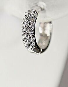 925 Sterling Silver Hoop Earrings Small Hoops Cubic Zirconia Rhodium Mom's Gift