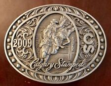 2009 CALGARY STAMPEDE BELT BUCKLE Cowboy on Horse RODEO Canada PEWTER Souvenir