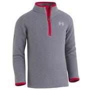 NWT Under Armour Boys' Fleece 1/4 Zip Sweater - Size 4 - Grey / Red