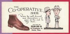 Vintage Blotter The Co-Operative Shoe Holson Shoe Co Boston Ma Men Shoes