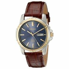 Seiko Men's Solar Blue Dial Luminous Brown Leather Watch SNE102