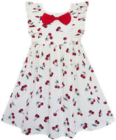 Robe Fille Arc Attacher Cerise Fruit Chevauchement Conception Rouge 4-10 ans