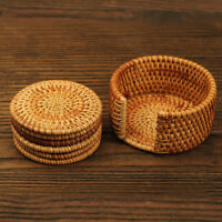 Vintage Bamboo Rattan Drink Coaster Cup Mat Pad Handmade Woven Placemat Set of 6