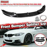 Carbon Fiber Look Front Bumper Lip Spoiler For BMW 4 Series F32 F33 F36 M Sport