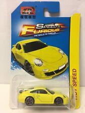 LR Brand Speed & Furious Yellow Porsche 911 Carrera 1/64 Scale BAD CARD
