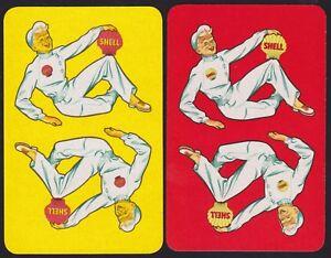 2 Single VINTAGE Swap/Playing Cards SHELL MOTOR FUEL OIL PETROL REVERSIBLE MEN