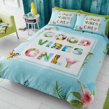 Double Good Vibes Only Tropical Duvet Cover With Pillow Case Bedding Set