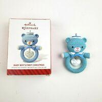 Hallmark Keepsake Baby Boys First Christmas Blue Bear Ornament 2014