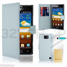 Funda Cartera De Cuero Funda Para Samsung Galaxy S2 I9100 + Protector De Pantalla