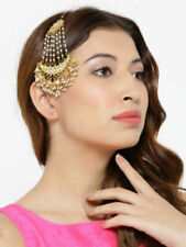 Indian Bollywood Fashion Pearl Jhoomar Passa White Forehead Partywear Jewels