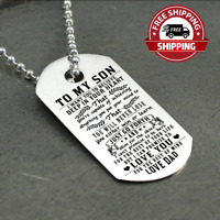 FREESHIP - To My Son Dog Tag Necklace Love Dad Father's Day Gift Stainless Steel