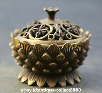 "3.5""  Chinese Tibetan Buddhism Bronze Temple Lotus Flower Incense Burner Censer"