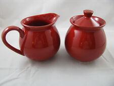 Cherry Red Lidded Sugar & Creamer Set Waechtersbach German Stoneware NEW