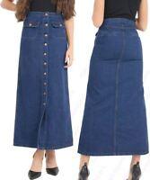 Womens Long Denim Skirt Ladies Button skirts NEW Size 8 10 12 14 16 Indigo