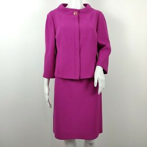 St John Collection Knit Skirt Suit Size 10 /4 Magenta Purple Textured Zip Jacket
