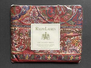 NEW RARE! RALPH LAUREN *GALAHAD Red *FULL FLAT SHEET Sateen Paisley Medieval