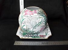 Oriental Decorative Bowl with Plate-greens, pinks, grays, birds, flowers,& leave