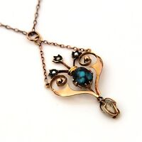 Victorian 9ct 9k Rose Gold Matrix Turquoise Seed Pearl Lavalier Necklace