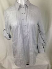 NWT New York & Company Women Gray Blouse Long Sleeve Cotton Double Button Top L