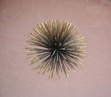 Metal Sculpture Art, Sun Burst or Sea Urchin for Table Top or Wall. Retro Glam!