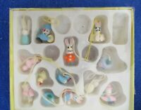 Set of 13 Wood Painted Easter Tree Ornaments 1""