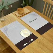 Placemats set of 6 Dinner Table Mats Washable Non Slip Woven 17.7in*11.8in Gray