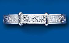 Baby Bangle Solid Sterling Silver Patterned Adjustable Baby Bracelet Christening