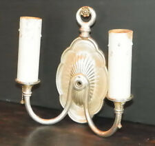 ANTIQUE 2 ARM SILVER OVER CAST BRONZE WALL SCONCE 5473