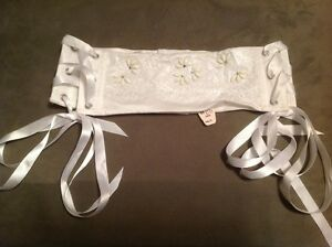 Victorias Secret Waist Cincher Garter Satin White Bridal Bling Beads Lace NWT S
