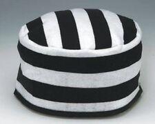 BLACK WHITE STRIPED PRISONER HAT JAIL JAILBIRD INMATE CONVICT COSTUME CAP 20'S