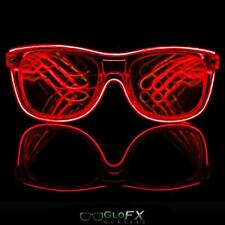 Diffraction Glasses - Red Light Up LED Glow Glasses Trippy Effect EDM Party 3D