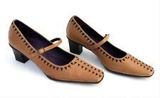 HISPANITAS Chaussures femme en cuir marron Mi Talons Boucle Sangle Escarpins Chaussures EU 39 UK 6