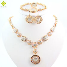 Gold Plated Round Design Necklace Earings Bracelet Ring African Jewelry Sets