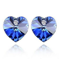 White Gold Plated Sapphire Blue Crystals Wedding Bridal Heart Stud Earring XE28