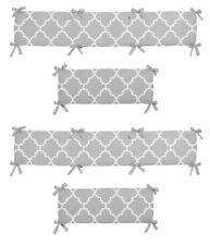 Grey & White Neutral Quatrefoil Trellis Baby Boy Girl 4 Piece Crib Bumper Pad