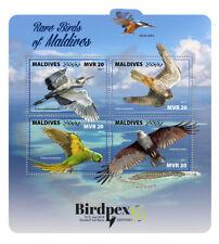 Maldives 2017 MNH Rare Birds Birdpex 4v M/S Birds of Prey Herons Parrots Stamps