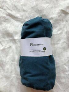 Drap-housse 90 x 140 cm lit évolutif bébé enfant alinéa bleu 100% lin lavé neuf