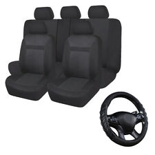 Jacquard Car Seat Covers Set Universal Black & Car Steering Wheel Cover Leather