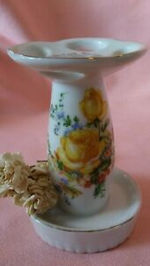 Vintage Royal Crown Ceramic Yellow Roses & Gold Trim Toothbrush Holder