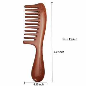 NEW Hair Comb for Curly Hair - Red Sandalwood Detangling Comb