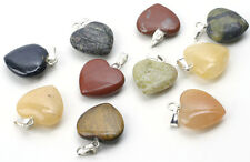 10 Assorted Gemstone Heart Pendants 15MM