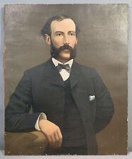 LG 19thC Antique VICTORIAN Era MUTTON CHOP Beard GENTLEMAN PORTRAIT Old PAINTING