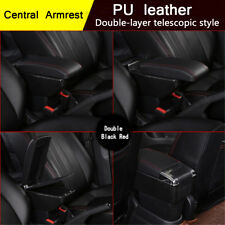 PU Leather Double-layer Telescopic Style Car Central Armrest Cup Holder Ashtray