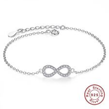 925 Sterling Silver Lady Infinity 8 Bracelet Crystal Jewellery Charm Bangle Gift