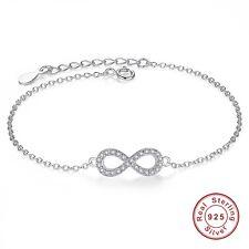 925 Argento Sterling Lady Infinity 8 Bracciale Cristallo Gioielli Charm Braccialetto Regalo