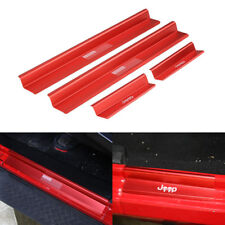 Red Door Sills Scuff Plate Entry Guards with USA Flag fit 2007-18 Jeep Wrangler