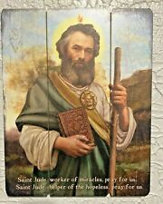 """ST JUDE"" PALLET SIGN, 12 x 15"" WORKER of MIRACLES, New in box!  STUNNING!"