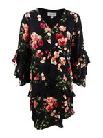Robbie Bee Women's Plus Size Floral Printed Tiered Dress